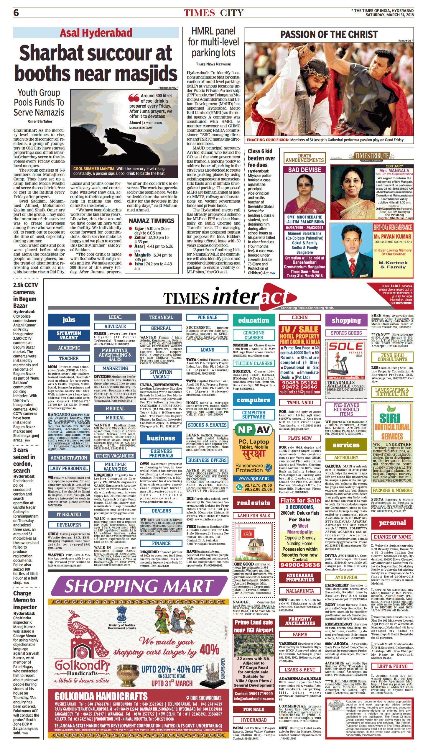 times of india advertisement of today's classified page [31-03-18]