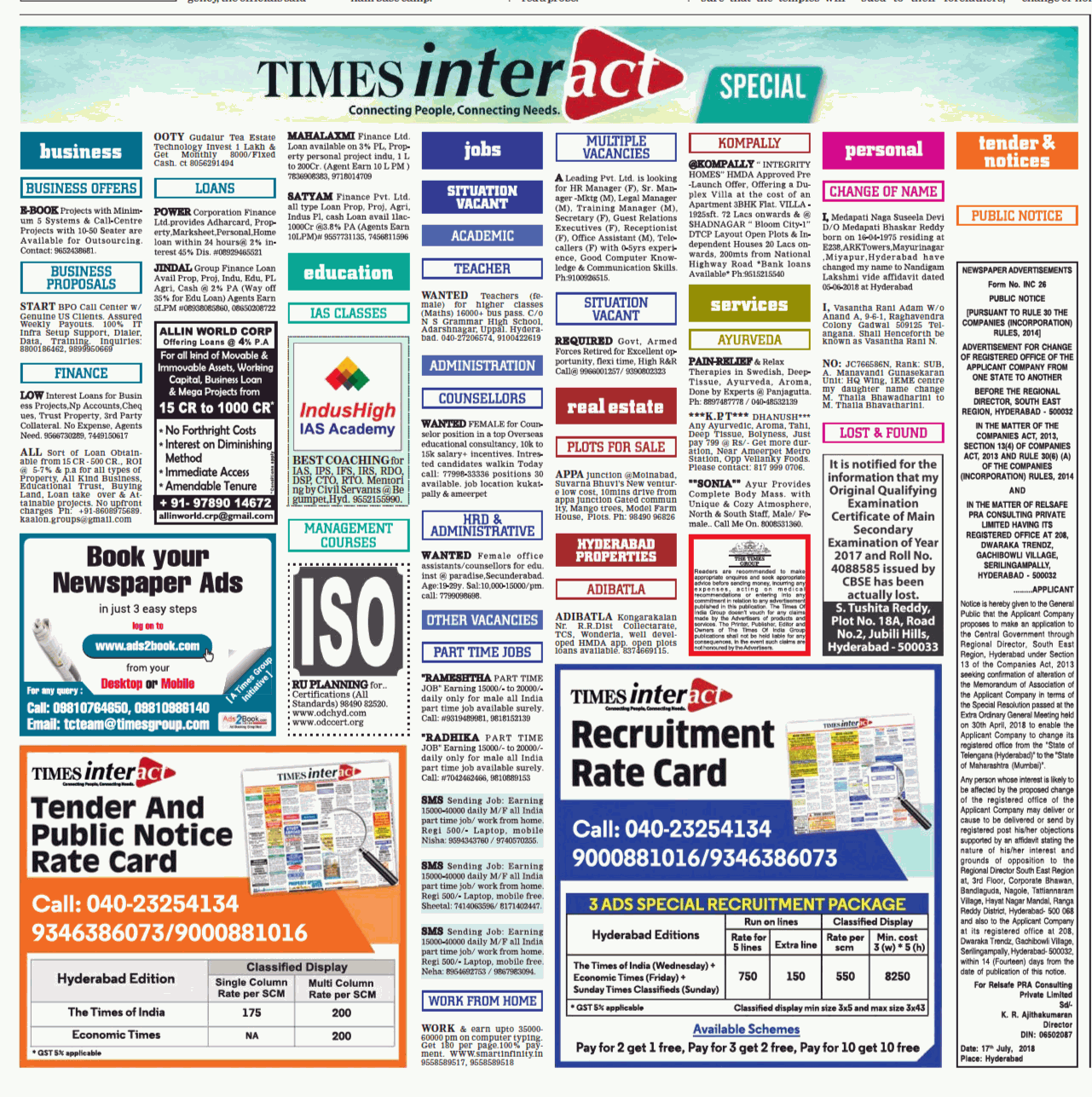 Times Of India Classifieds Ads Today [17-07-18] Hyderabad